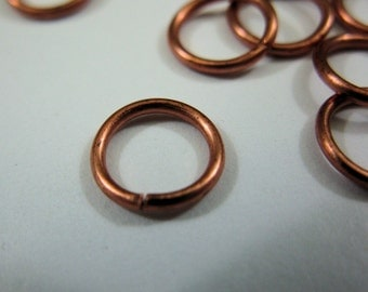 8mm 18 Gauge Copper Jump Rings, Bright or Oxidized, Pack of 50
