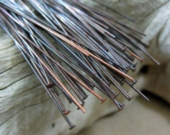 50 COPPER HEADPINS 24 gauge,  3 inch length Oxidized
