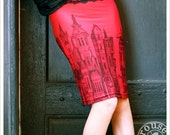 REDUCED - Red Pencil skirt - Printed skirt - Red Mini Skirt - MEDIUM