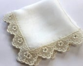 Swarovski Silk Wedding Hanky, Mother of Bride Gift, Bridal Shower Gift, Bride Handkerchief w/ Embroidery Lace & Crystals - Countess of Ivory