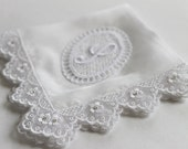 Swarovski Monogram Wedding Hanky, Bridal Shower Gifts - Princess of White - Silk Handkerchief w/ Embroidery Lace, Crystals and Lace Monogram