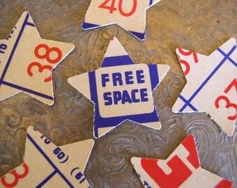Vintage Bingo Card Star Punches. Patriotic Party Decor, Star Diecuts, Scrapbooking Stars