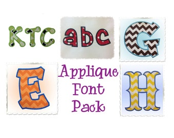 Applique Machine Embroidery Font Pack -  5 Different Alphabets