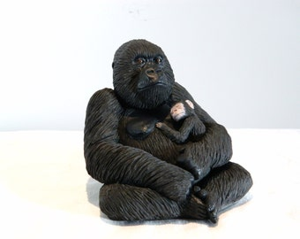 Female Gorilla Holding Baby Sculpture, Ornament, Gift
