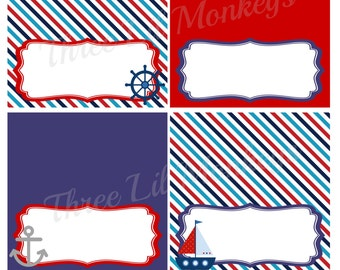 Sale- INSTANT DOWNLOAD- Nautical Food Label Tent Cards (PDF File)