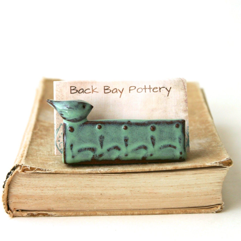 Little bird ceramic business card holder aqua by for Ceramic business card holder