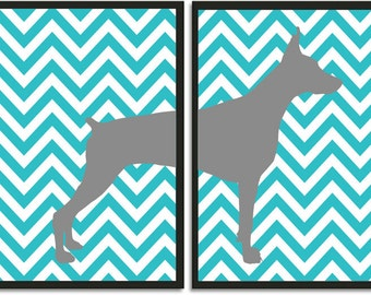 Doberman Art Print, Doberman Silhouette on Chevron Background, Modern Wall Decor
