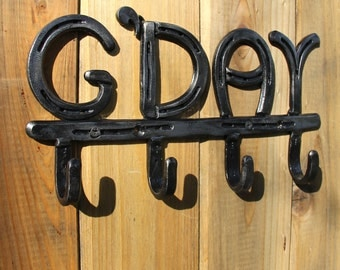 Horseshoe coat rack, 4 letters / initials, 4 hooks, country home decor, engraving available