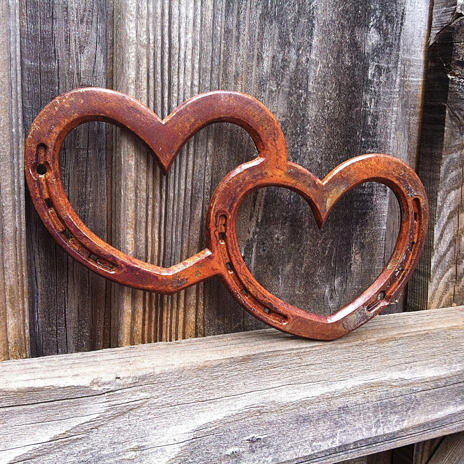 Two hearts one love horseshoe heart western by for Horseshoe welding