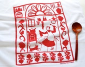 Flour Sack Dish Towel - San Pascual: Red or Indigo