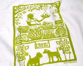 Flour Sack Dish Towel - Buy Local: Green