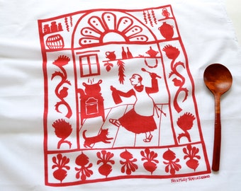 Flour Sack Dish Towel - San Pascual: Red or Indigo