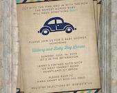VW beetle baby shower invitation, Volkswagen Car theme, digital, printable file