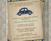 VW beetle baby shower invitation, Volkswagen Car theme, digital, printable file