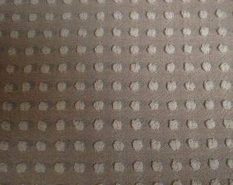 "Morgan Jones MOCHA Brown with WHITE POPS Vintage Chenille Bedspread Fabric- 24"" X 24"""