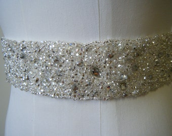 Cluster style Bridal belt Sylvia Silk Dupioni encrusted crystals hand beaded, available in various shades