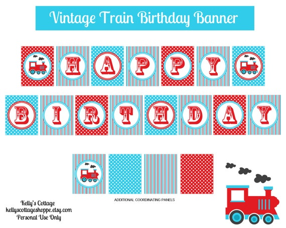 Printable Vintage Birthday Banner ~ Vintage train birthday banner instant by kellyscottageshoppe