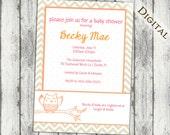 owl baby shower invitations, gender neutral, baby shower invitations, modern owl baby shower invitations, digital, printable file, II2