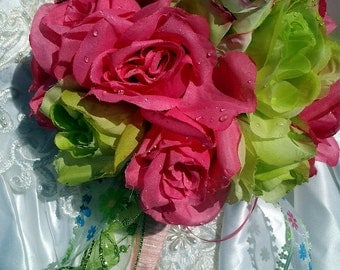 wedding bouquet pink and green silk flower bouquet spring bridal bouquet