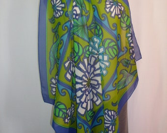 Vintage 1970's Semi Sheer Blue/Green and White Floral Print Scarf