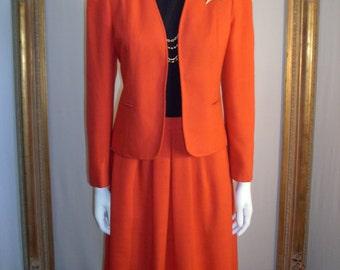 Vintage 1970's Evan-Picone 2-Piece Red Wool Suit - Size 8