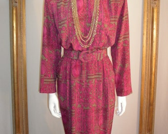 Vintage 1980's Tanner Purple and Taupe Print Belted Dress - Size 10