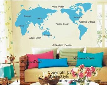 Map of the World-nursery wall decals tree vinyl wall decals decal children wall sticker nursery room girl bedroom decor