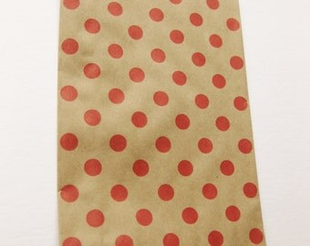 "Set of 10 NEW Red Polka Dot on Kraft Middy Bitty Bags (5"" x 7.5"")"