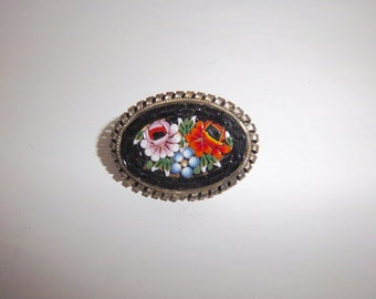 Vintage Mosaic Pin from Italy with Pink & Red Flowers on Black Background