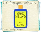 Sunblock Fabric Applique Template - Summer Quilt Applique Template / Beach Iron on Template / Summer Wall Hanging / DIY Kids Nursery AP36-D