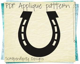 Horseshoe Applique Template - Horse Applique Pattern / Horseshoe Fabric Applique / PDF Girls Shirt Applique / DIY Baby Quilt Design AP137-D
