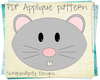 Mouse Quilt Applique Pattern - Animal Iron on Applique Template / Mouse Scrapbook / DIY Clothing Design / Girl Baby Nursery Applique AP70-D