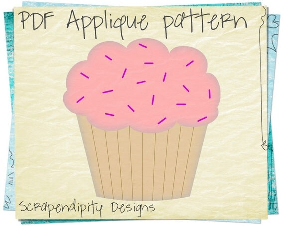 Cupcake Applique Pattern - Girl Applique Template / Kids Girls Clothing / Cupcake Iron on Transfer / PDF Baby Quilt / DIY T-Shirt AP101-D