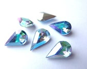 6 glass jewels, 13x8mm, vitrail blue AB, pear