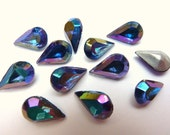 12 glass jewels, 10x6mm, vitrail blue, pear