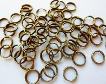 50 split rings, Ø7mm, bronze