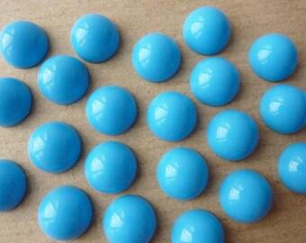 20 acrylic cabochons, Ø12mm, turquoise