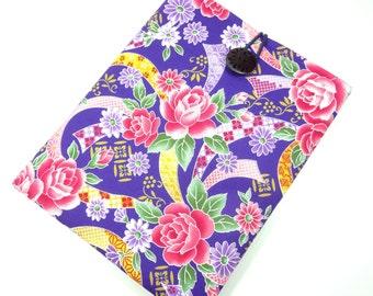 Kobo mini cover, Kindle paperwhite Case, Kobo glo Sleeve Kimono cotton fabric Flowers Bouquet Purple