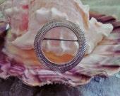 Silver Tone Textured Circle Pin Brooch