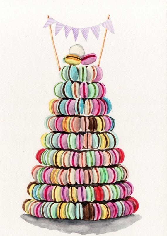 Rainbow Macaron Tower - ORIGINAL Watercolor 5 x 7 - Colorful Pastel Laduree Luxe Patisserie