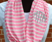 Monogrammed Infinity Scarf Pink and White Stripe Knit Jersey