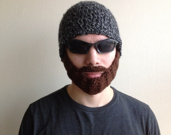 Crochet Beard Hat for men, women, kids, babies  in All sizes, beard hat, crochet beard hat in mixed gray with brown beard