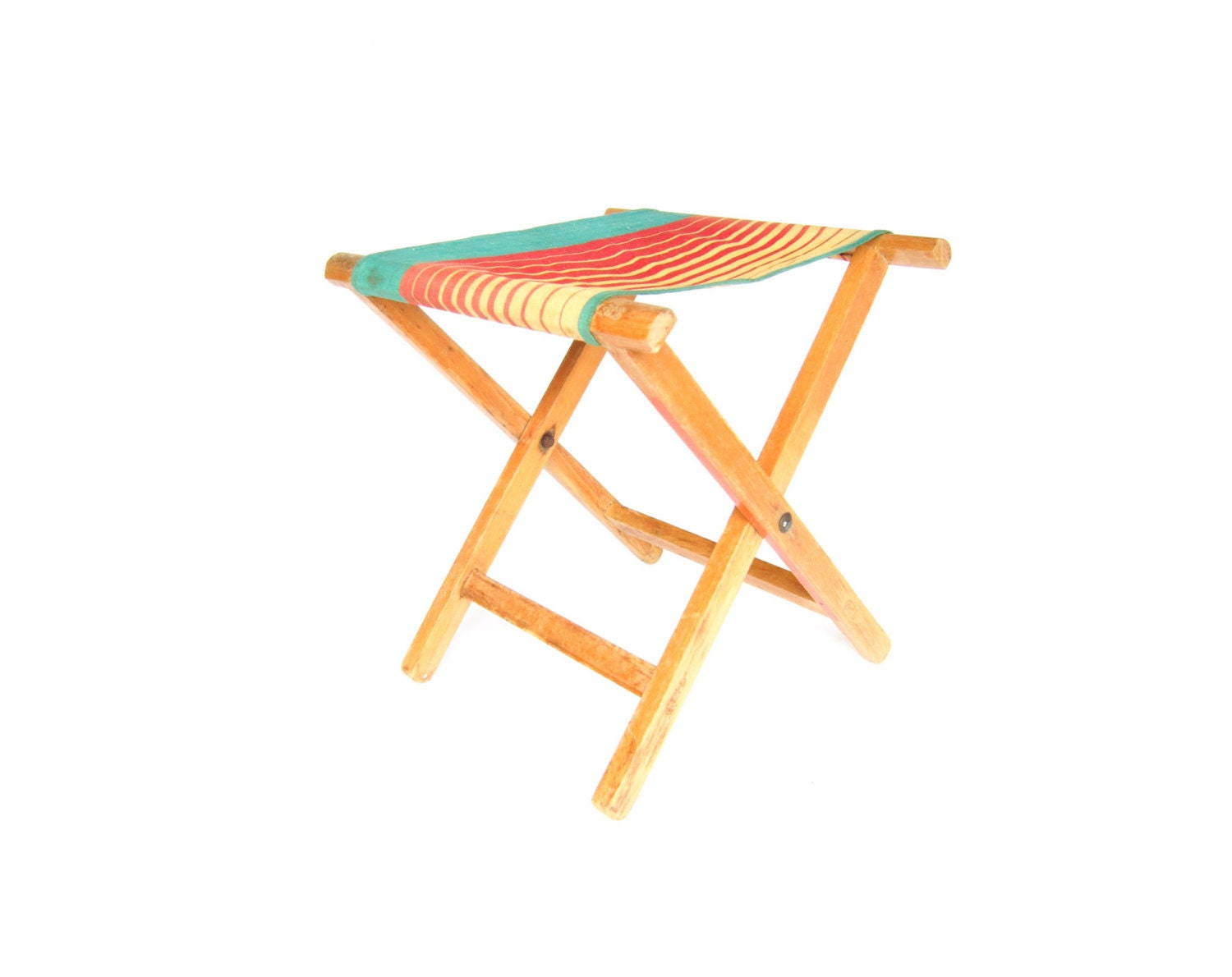 Vintage Camping Stool Folding Canvas Camp Chair