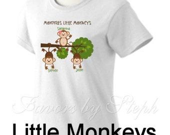Mom's Monkeys t shirt - Mother's Day - Personalized - Mom/Grandma