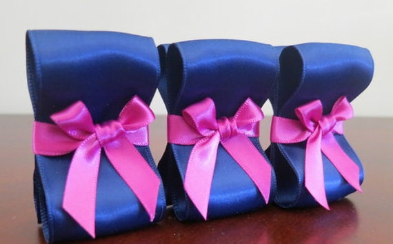 Wedding Place Card Holders - One Hundred (100) with Navy and Fuchsia Satin Ribbon  - Customize Your Colors