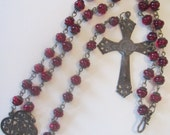 SALE - Handmade Rosary Necklace, Vintage Rosary Beads, Our Lady of Guadalupe Center