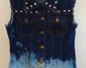 Women's Small Blue Studded and Bleached Denim Vest