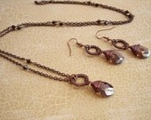 Swarovski Crystal Necklace, Brown Long Necklace, Layer Necklace Small Pendant Necklace, Cubic Zirconia