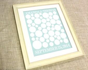 Wedding Guest Book Alternative - Radiah - A Peachwik Signature Guestbook Art Print - 50 guest sign in - Retro Circles Guestbook