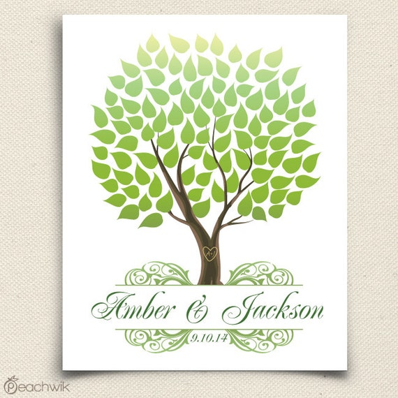 Unique Wedding Guest Book - The Seaswik - A Peachwik Interactive Art Print - 100 guests -  Summer Wedding Tree